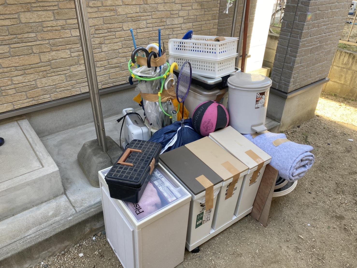 収納ケース、傘、その他不用品の回収前