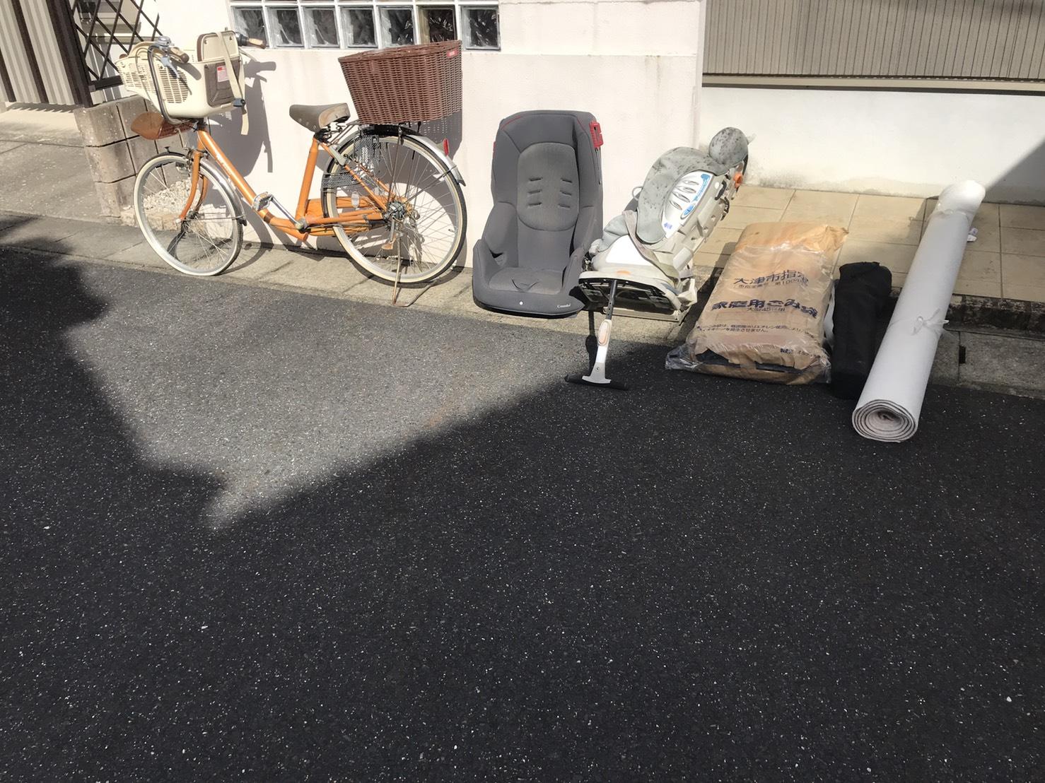 ベビーシート、自転車の回収前
