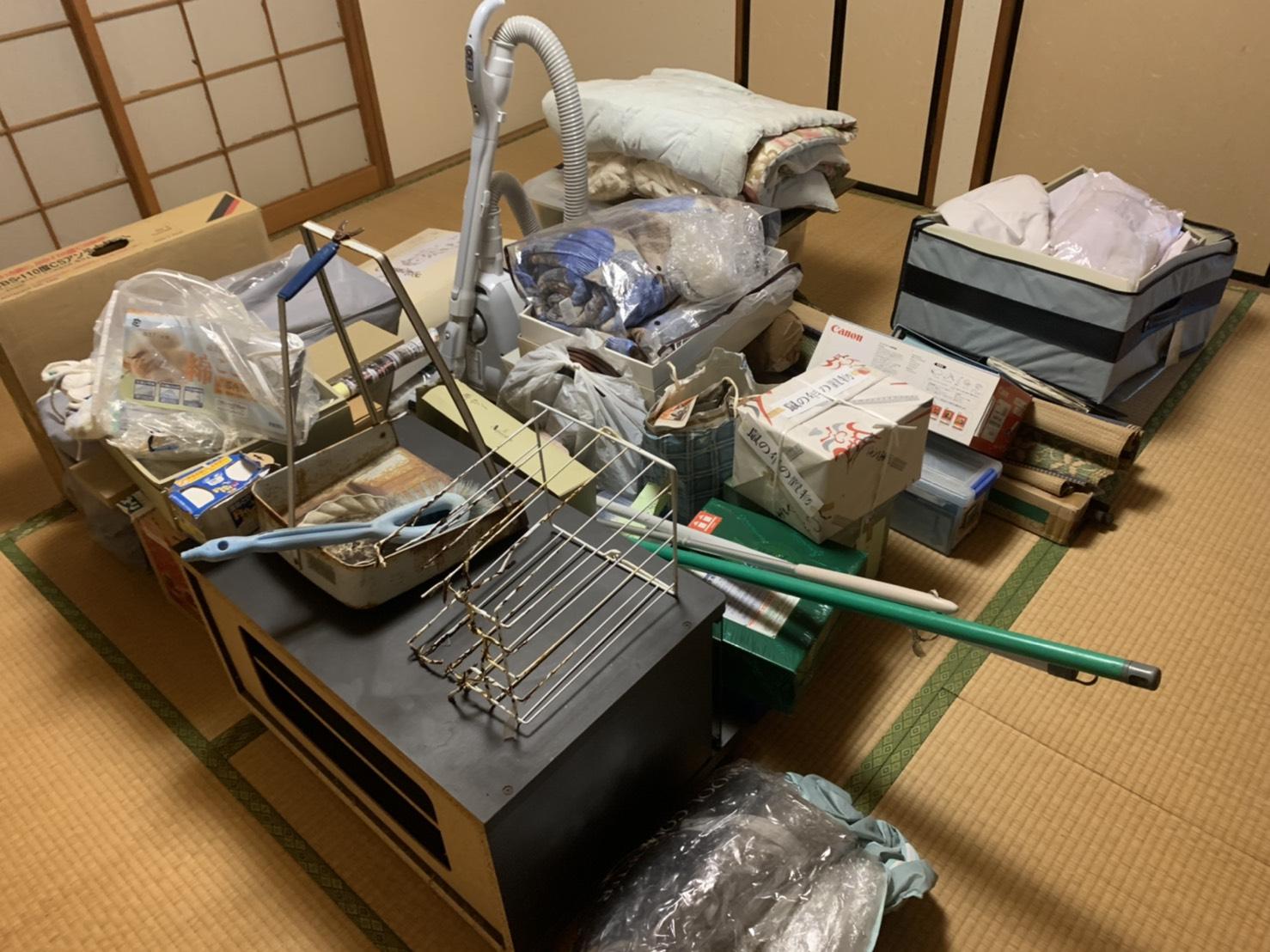 布団、掃除機、その他不用品の回収前