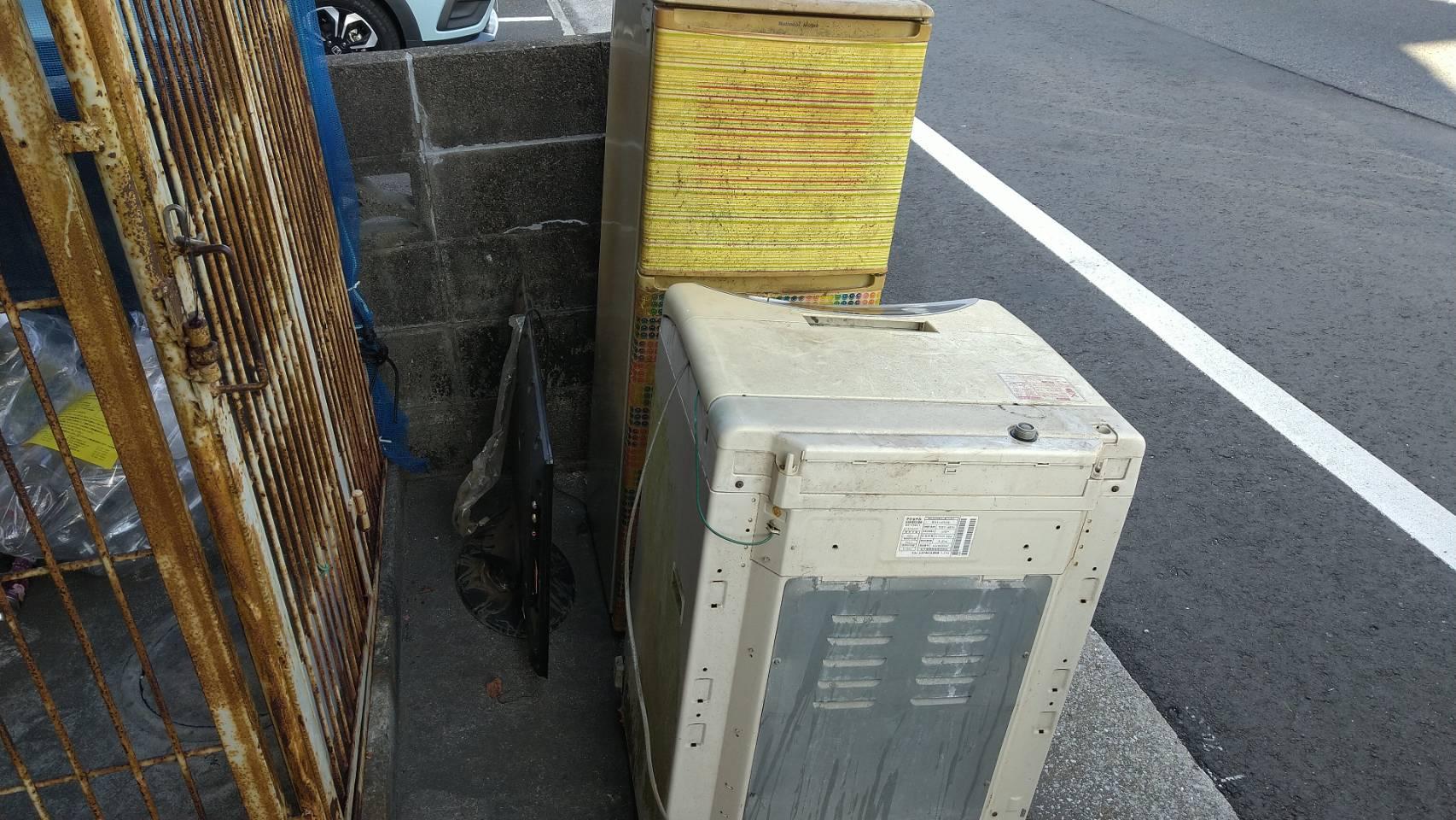 洗濯機、テレビ、その他不用品の回収前