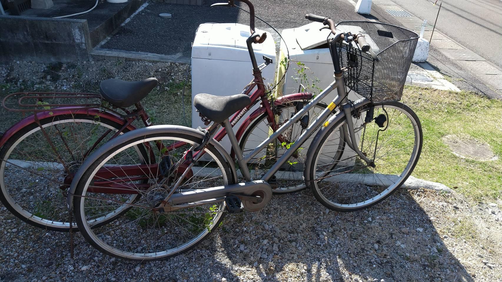 洗濯機、自転車の回収前