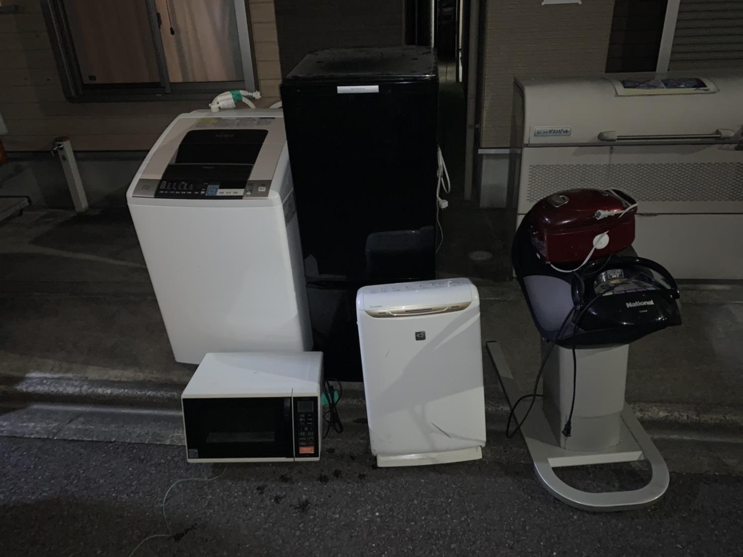 洗濯機、冷蔵庫、空気清浄機、乗馬、炊飯器、電子レンジの回収前