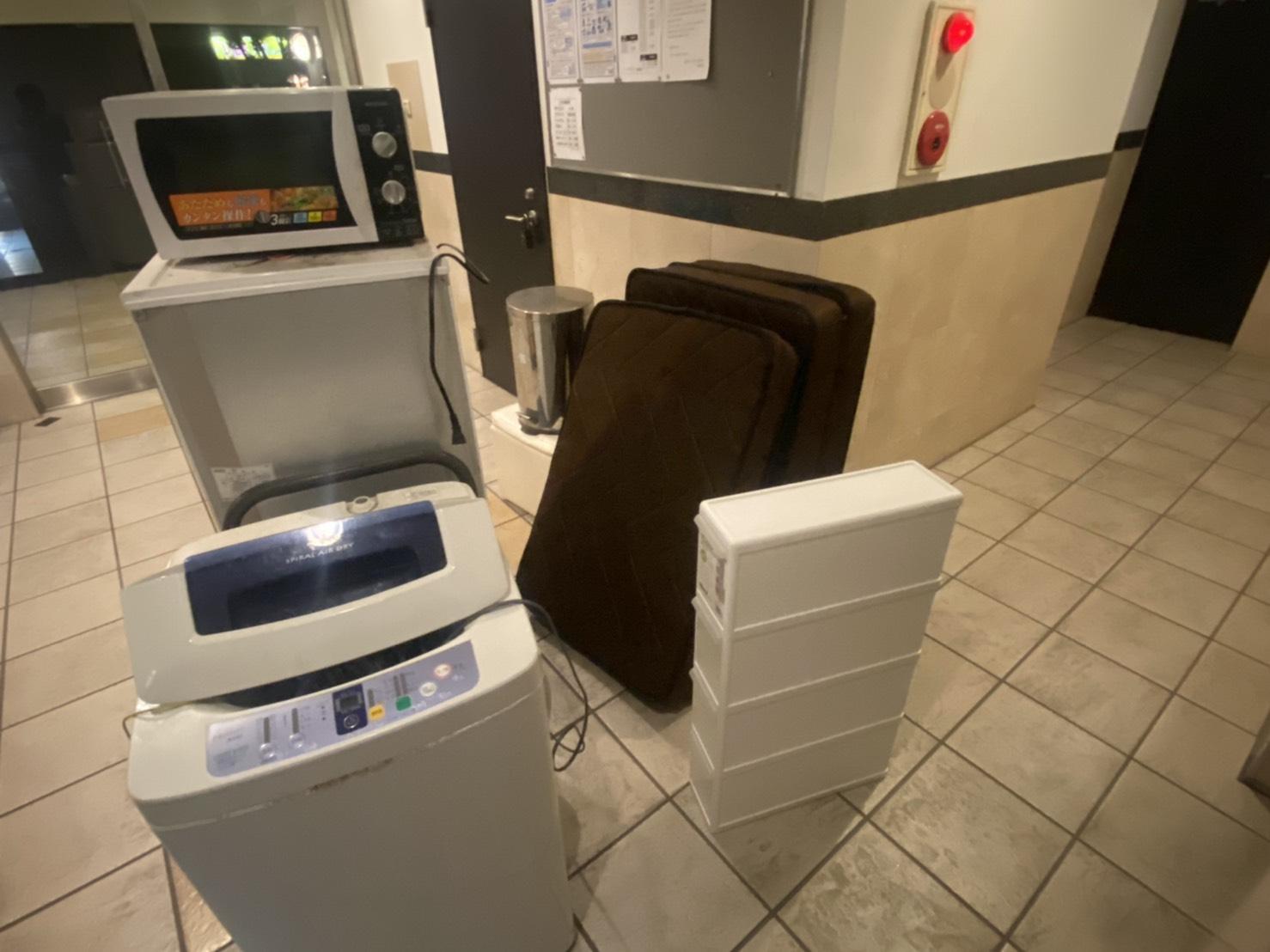 電子レンジ、冷蔵庫、洗濯機の回収前