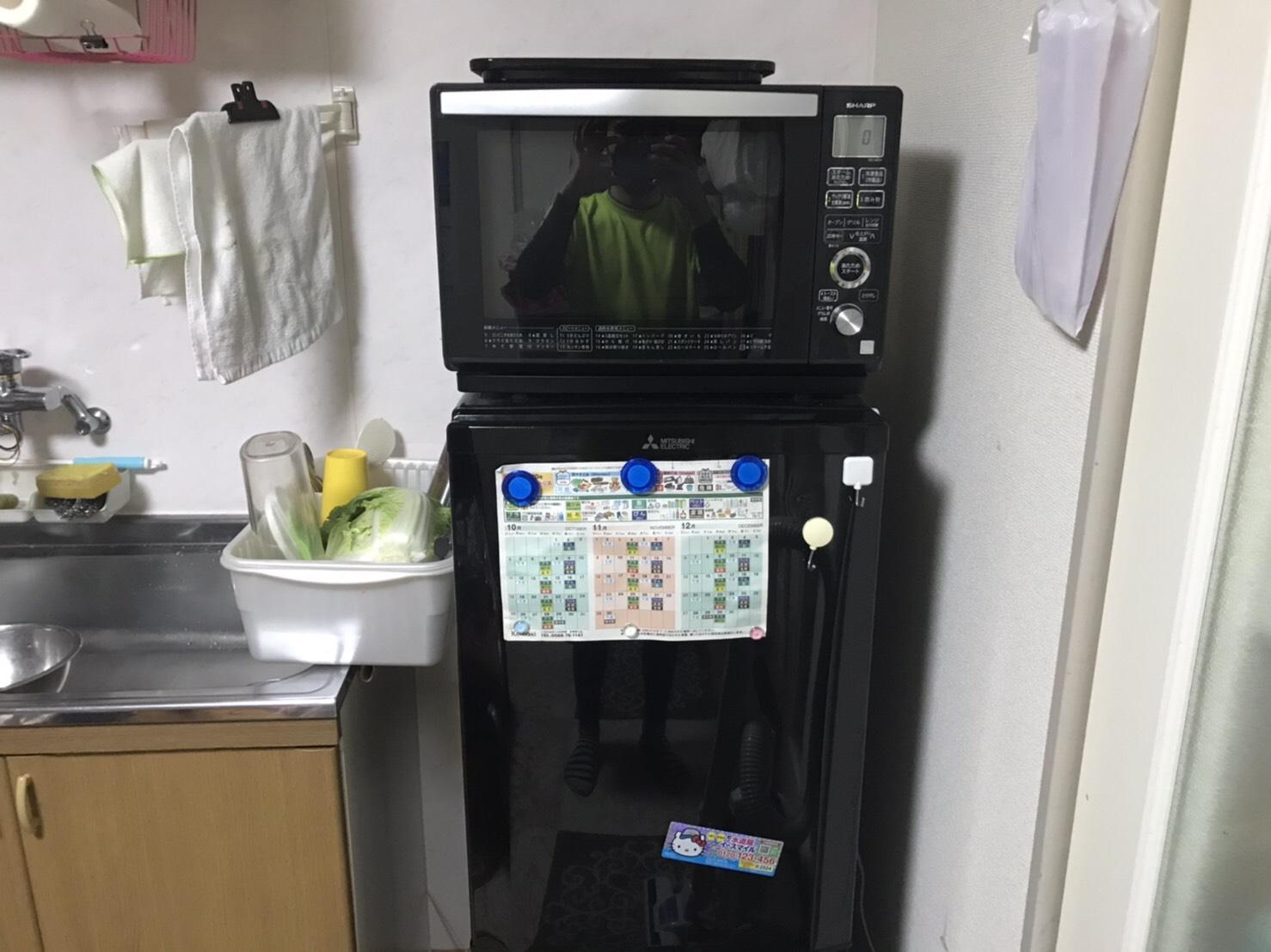 電子レンジと冷蔵庫の回収前